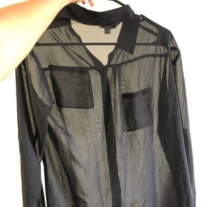Black see through blouse